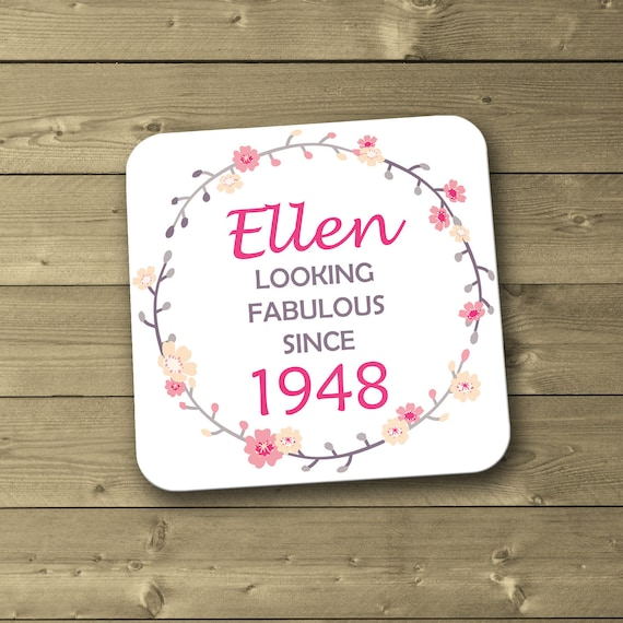 Personalised 70th Birthday Coaster 1948 70 Gift