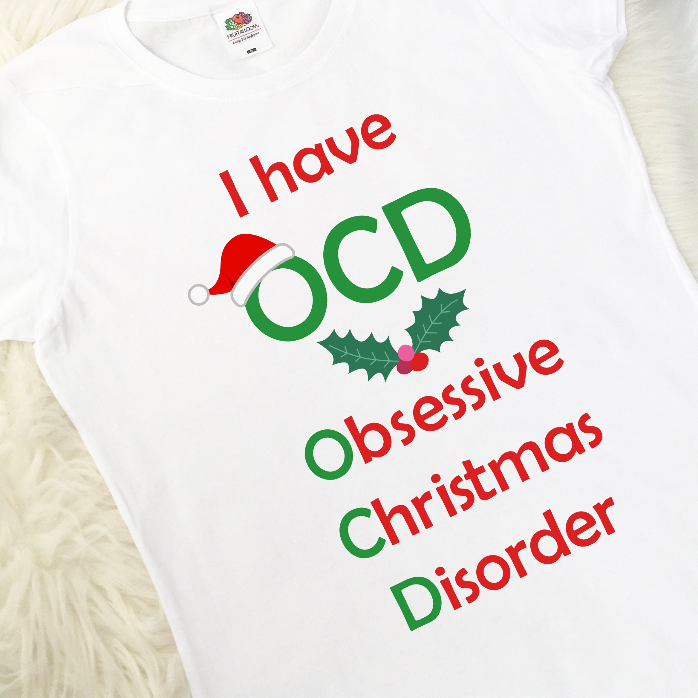 Ladies Christmas T-Shirt Obsessive Christmas Disorder Fun | Etsy