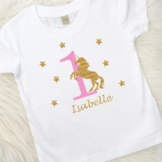 Personalised Unicorn Birthday T Shirt 1st 2nd 3rd 4th 5th