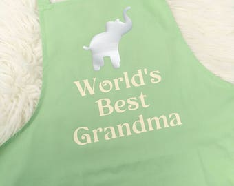 Personalised Grandma Apron, Grandma Gift, Mothers Day Gift, Grandmother, Cooking Gift, Elephant Apron, UK