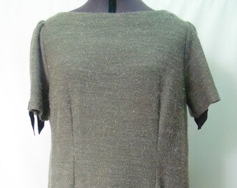 Wool and taffeta grey dress