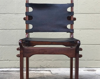 Mid Century Leather Chair Attributed Angel Pazmino