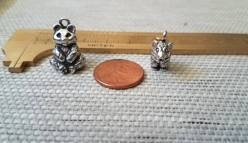 Jewelry Findings 3D Design 925 Charms Pendants Sterling Silver Mouse /& Panda Bear Jewelry Supply Silver Findings Animal Charms Silver