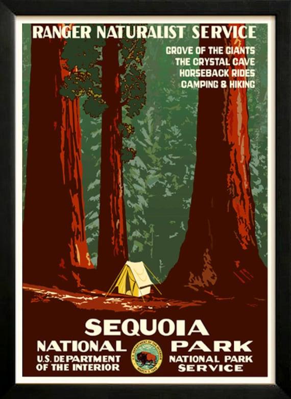 Sequoia National Park Retro Poster 1930s Wpa Custom Framed A Etsy