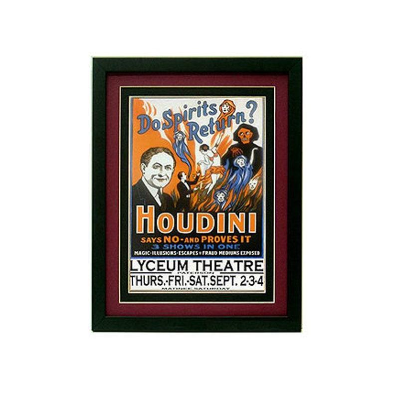 Houdini Do Duchów Powrót Plakat Vintage Style Custom Oprawione Odbitki