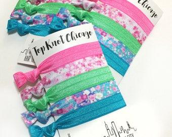 Floral Hair Ties - Hair Tie Bracelets - Floral Hair Accessories - Elastic Hair Ties - Ponytail Holders - Bridesmaid Gifts - Womens Gifts