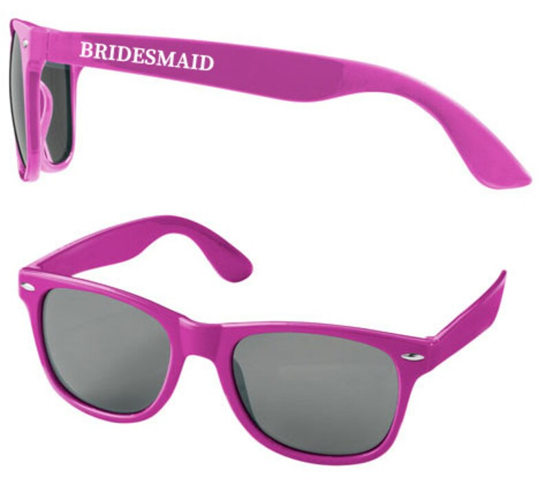 Personalised BRIDESMAID Wedding Sunglasses Favours image 0