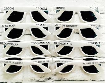 Personalised Wedding Sunglasses Favours BRIDE - GROOM - BRIDESMAID etc