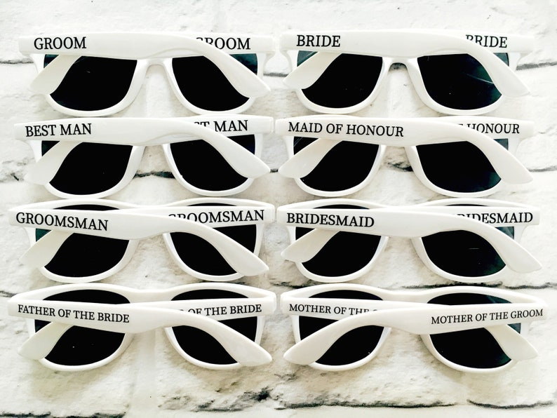 Personalised Wedding Sunglasses Favours BRIDE  GROOM  image 0