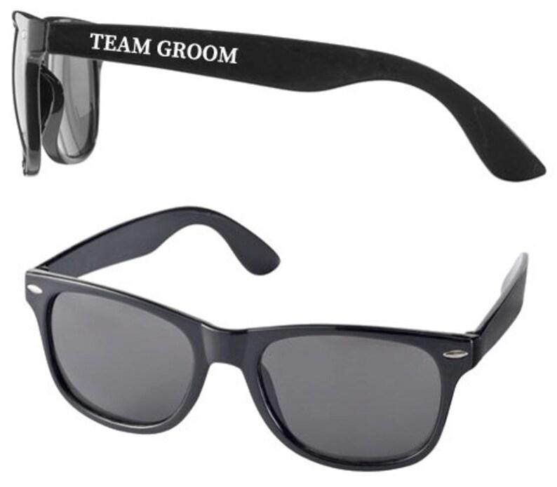 Personalised TEAM GROOM Wedding Sunglasses Favours image 0