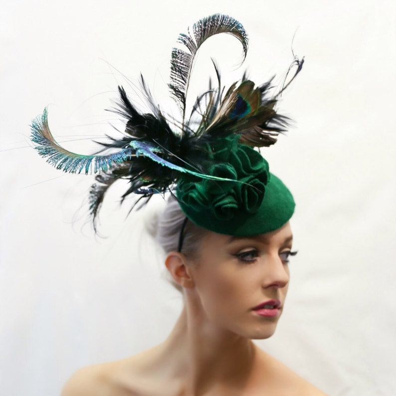 d6caf752 Bespoke Emerald Peacock Fascinator/Headpiece Wedding & | Etsy