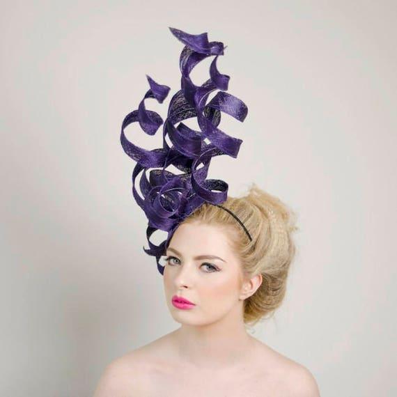 Stunning Unique Purple Structured Fascinator Headpiece  581e39b31ca