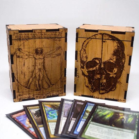 Magic The Gathering Deck Box Da Vinci Vitruvian Man Wooden Etsy