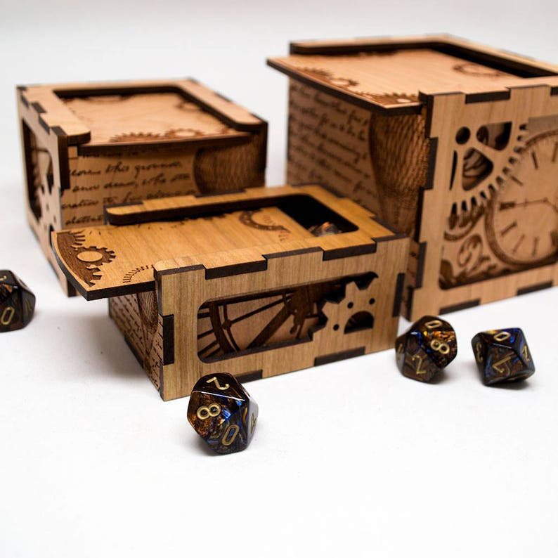 Dungeons and Dragons Dice Box Steampunk Gears D/&D Gaming Dice Box Mtg Tcg or Tabletop Gaming Personalized Steampunk Rpg Dice Box