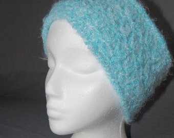 Light Blue Fuzzy Crochet Earwarmer Headband ~ Adult