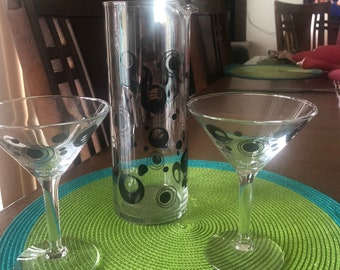 Vintage  Art Deco Martini set, glass pitcher and 2 matching glasses