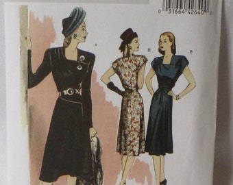"""Butterick Retro 1946 Reissue, B5281 Misses Dress, Szs 14-22, Semi Fitted and Lined, Square Neckline, """"Wrap"""" Style, Asymmetrical Detailing"""