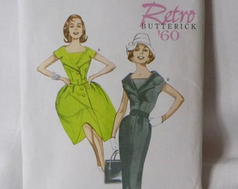 Butterick Retro 1960 Reissue, B5747 Misses Fit and Flare, or Sheath Style Dress, Szs 14-22, in original folds
