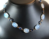 Art Deco Beaded Choker with Moonstone Glass and Blue Bezel Set Rhinestones