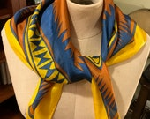 Southwestern Style Silk Scarf with hand rolled hem, golden yellow, deep blue and rust brown