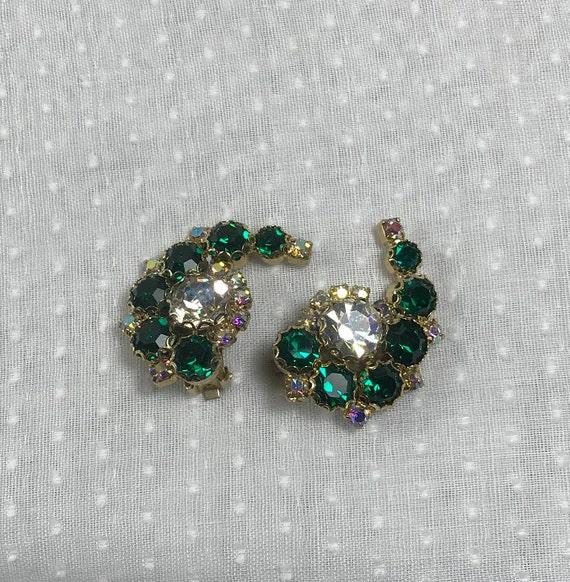 Fabulous Emerald Green Rhinestone Earrings, 1970's