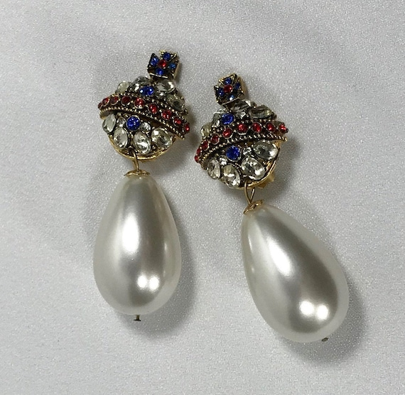 Serbin Crown Couture Earrings with Pearl Drops, 19