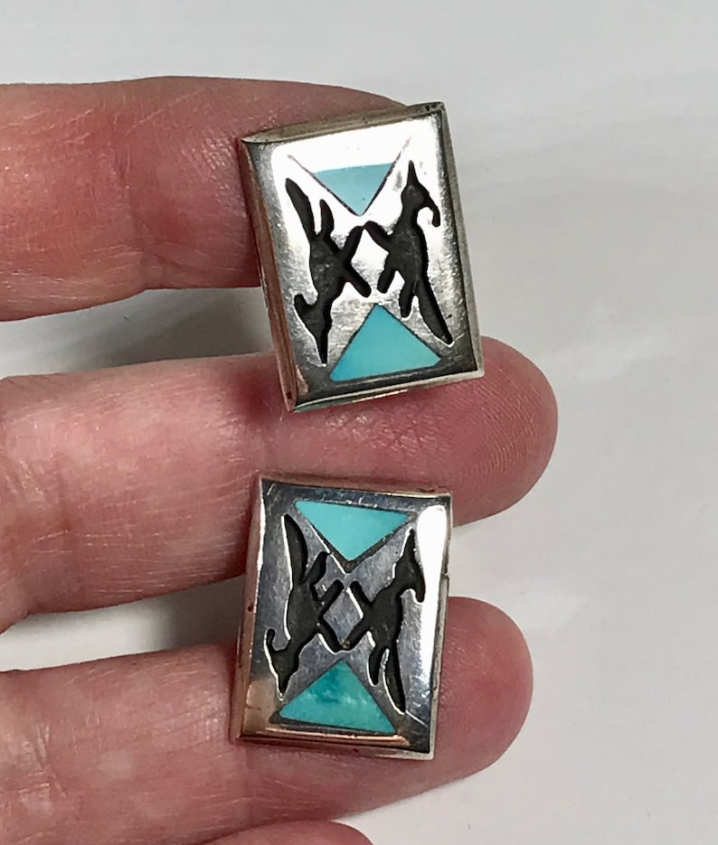 with Road Runner Design and Turquoise Stones Vintage Hopi Style Cuff Links by Jacob M Oldak
