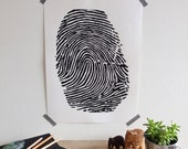 Fingerprint Print in Black; Original Silk Screen; Hand-Pulled; Limited Edition; Modern, Minimalist Wall Art; Home Office Decor; by OGR