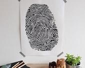 Fingerprint Print in Black; Original Silk Screen; Hand-Pulled; Limited Edition; Modern, Minimalist Wall Art; Home Office Decor; by OGR