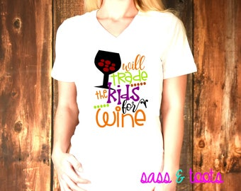 673464fca Will trade the kids for wine Womens Womans V-Neck Shirt Name Custom Women  Ladies Plus Size Halloween
