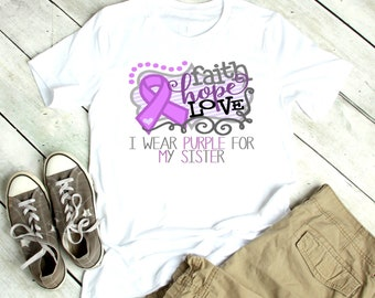 103dd7a99 Purple Ribbon Shirt | I wear purple for my | T-Shirt One peice Bodysuit |  Alzheimer's Epilepsy Cancer Cystic Fibrosis Purple | Mens Boys