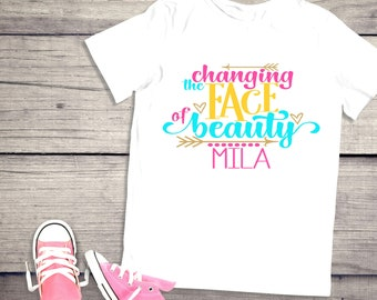 feac39c0 Down Syndrome shirt | Changing the face of beauty | Down Syndrome Awareness  | T-Shirt One piece Bodysuit | Girl | Name Personalized | Walk