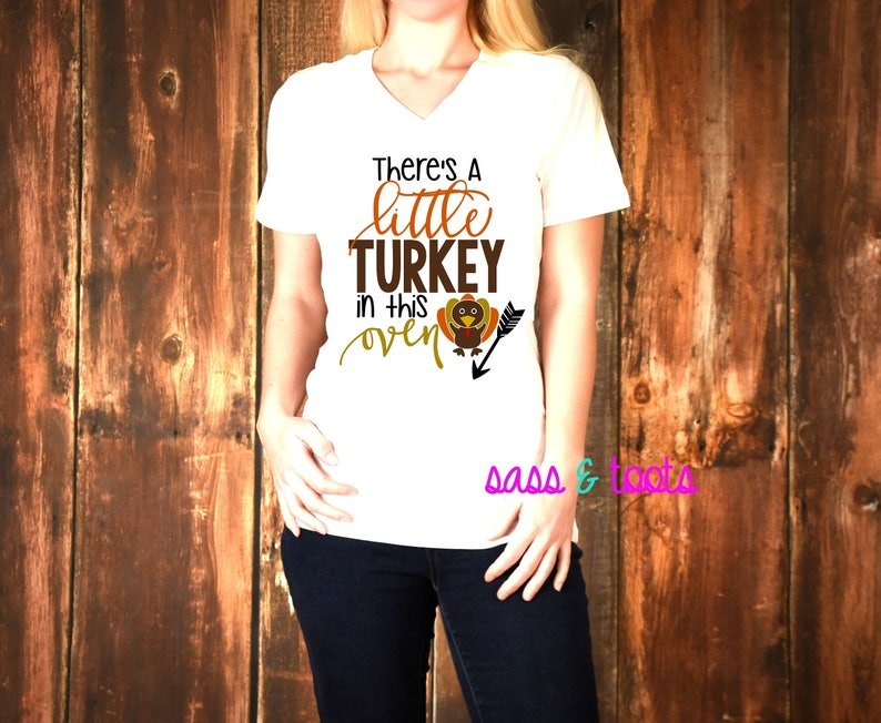 f670ee3c2a24f There's a little turkey in this oven shirt Womens Womans | Etsy