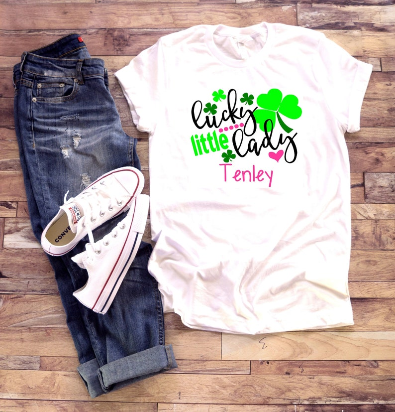 c9cdb2acfb123 St. Patrick's Day Shirt | Lucky Little Lady | T-Shirt One Piece Bodysuit |  Personalized Custom Name | Little girl clover pink