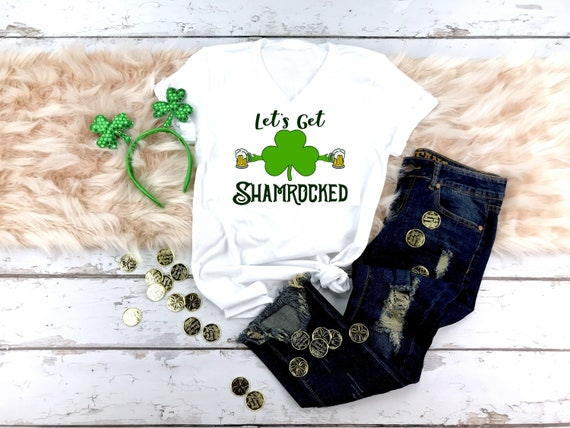49ee1f79 Womens St. Patricks Day V-Neck Shirt Let's Get | Etsy