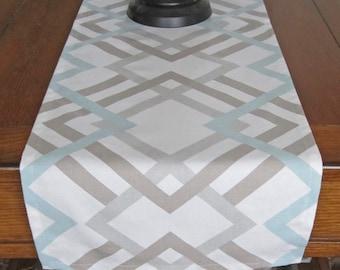 Table Runner, Light Blue/ Taupe/ Gray, Winter Table Runner, Wedding Table