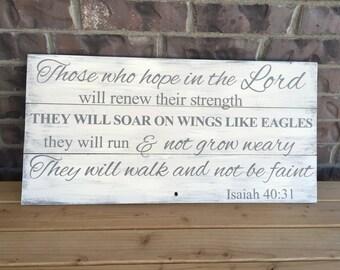 Isaiah 40:31 Handpainted Wood Sign