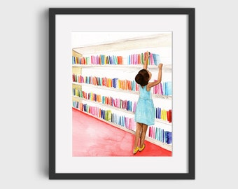 At the Library Watercolor - Print/Poster (Unframed)