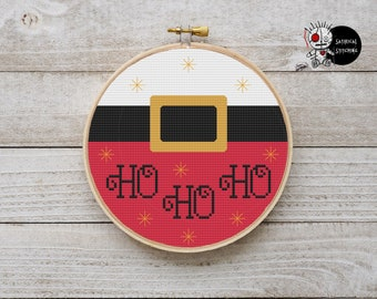 Christmas Ho Ho Ho Santa Hoop Xmas Modern Counted Cross Stitch Pattern PDF Instant Download