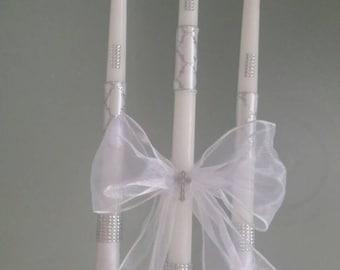 Greek Orthodox Baptism Wedding Candles Lambada Christening Silver & White