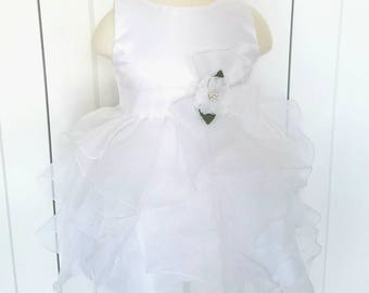 Baby Girl Baptism Dress, White Girls Christening Gown, Flower Girl Dress, Birthday Party Dress