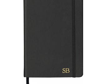 PERSONALISED MONOGRAMMED Black Vegan Leather Notebook - Desk Accessory - Stationery - Gift