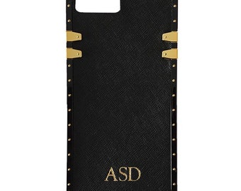 5a40b541d5 PERSONALISED MONOGRAMMED Genuine Saffiano Leather iPhone 7/8 Studded Phone  Case in Black