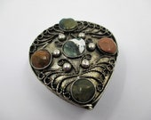 Small Filigree Trinket Box - Topped with Polished Stones - Teardrop Shape - Hinged Lid - Wire Work Box - Vanity Table Decor - Jewelry Box