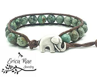 Turquoise leather wrap bracelet, boho jewelry, indie jewelry, African turquoise bracelet, elephant jewelry, gemstone beaded wrap bracelet