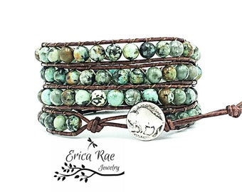 african turquoise leather wrap bracelet, beaded wrap bracelet, leather bracelet, gemstone leather wrap bracelet, buffalo nickel, boho wrap
