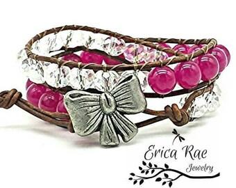 Clearance, leather wrap bracelet, beaded wrap bracelet, leather bracelet, gemstone leather wrap bracelet, pink jade bracelet, crystal