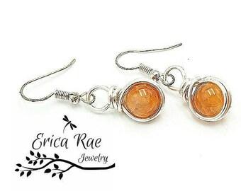 agate earrings,  orange earrings, gemstone earrings, dangle earrings, silver earrings, wire wrap earrings, beaded earrings
