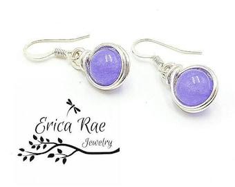 amethyst earrings, gemstone earrings, purple earrings, lavender earrings, wire wrap earrings, wire wrapped, silver earrings, hypoallergenic