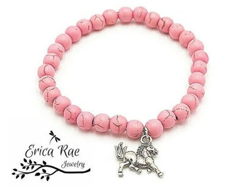 Turquoise bracelet, horse bracelet, pink turquoise, charm bracelet, stretch bracelet, horse charm, gemstone jewelry, western jewelry